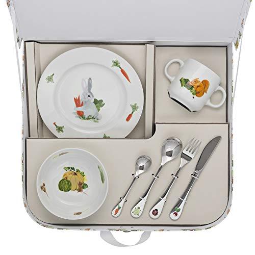 DEGRENNE 231763 Les Amis du Potager Valisette avec coupelle + Assiette à Dessert + mug + 4 Couverts, Multicolor