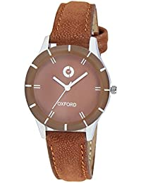 Oxford OX2008SL05 Stylish Brown Leather Strap With Glass Top Metal Case Analog Watch - For Women