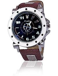 Fusine™ Fenix Premium Watch Analog Stylish Leather Watches For Men (Brown)