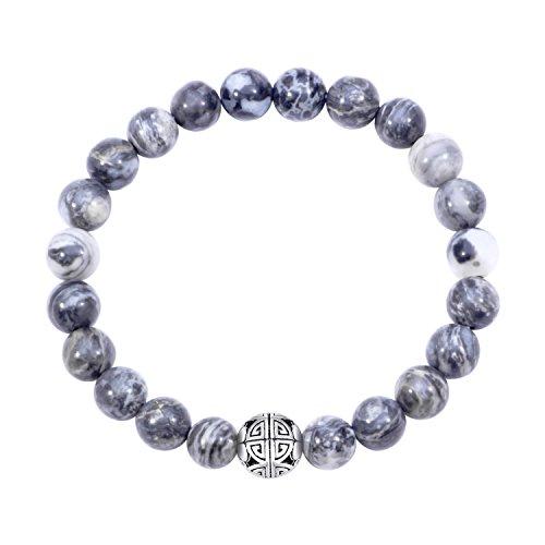 Natürliche 8 mm Edelsteine MetJakt Heilung Crystal Stretch Perlen Armband Armreif mit 925 Sterling Silber Double Happiness Anhänger (Schwarze Jade)