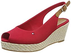 Tommy Hilfiger Women's Iconic Elba Basic Sling Back Espadrilles, Red (Tango Red 611), 6.5 Uk