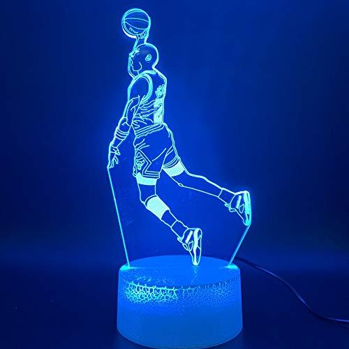 3D Nachtlicht, Led Nachtlicht Dunk Abbildung 3D Lampe Sport Basketball Home Decor Geburtstagsgeschenk Für Kinder Junge Kind Neuheit Licht, Fernbedienung -