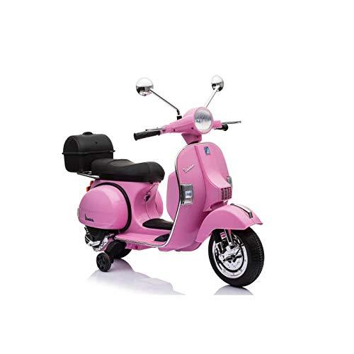 ATAA CARS Vespa clásica Oficial 12v Licencia Piaggio - Rosa - Moto eléctrica para niños hasta 7 años. Batería 12v...