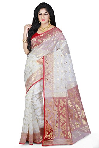 Wooden Tant Silk Cotton Saree (Dj16_White)