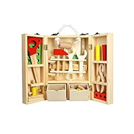 Goolsky Set di attrezzi di legno del carpentiere di legno Imballaggio dell'attrezzo di officina di legno Pretend Set del giocattolo