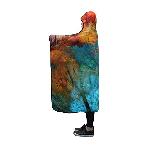 JOCHUAN Hooded Blanket Abstract Blanket 60x50 Inch Comfotable Hooded Throw Wrap -