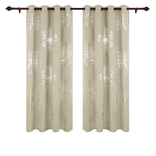 Deconovo tende oscuranti termiche isolanti stampa delle fiori con occhielli per soggiorno 140x245 cm beige 2 pannelli