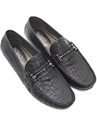 ROSSO BRUNELLO Mens Black Moccasins Italian Leather Shoes