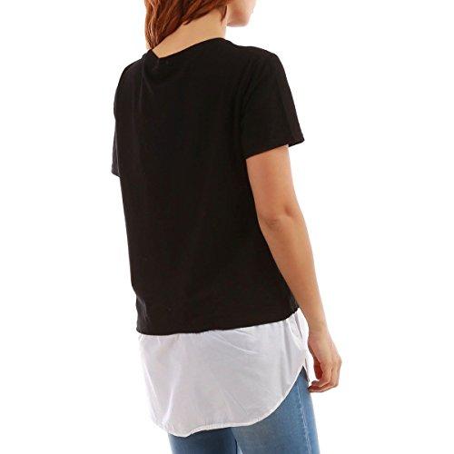 La Modeuse - T-shirt femme avec doublure chemisier à la coupe ample Noir