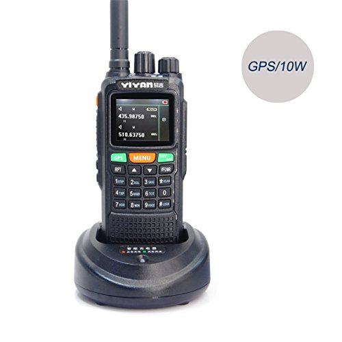 YIYAN Walkie Talkie Amateurfunk Transceiver YI-889 GPS 10W DualBand VHF UHF 2m 70cm Wasserdicht IP55 PMR 446 Hand Funkgerät mit Headset und USB Programmierkabel (YI-889G) Uhf-gps