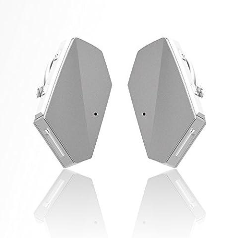 iVoler TB-01 Oreillette Bluetooth 4.1 Une Paire Truly Wireless Stéréo Casque Sans fil Sport Écouteurs avec Microphone, Annulation de Bruit, Mains libre pour Apple iPhone X / 8 / 8 Plus / 7 (Plus) / 6 (Plus) Samsung, Android, et d'autre Smartphone - Blanc