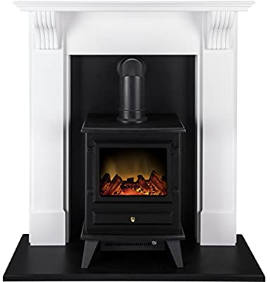Adam Harrogate Stove Suite with Hudson Electric Stove in Pure White, 39 Inch
