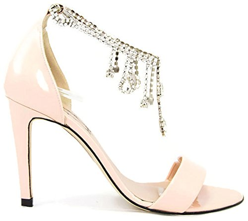 Viorica del Prado,Zapatos de Tacon de Boda,Ceremonia,Vestir con Cristales unicos 37, Rosa