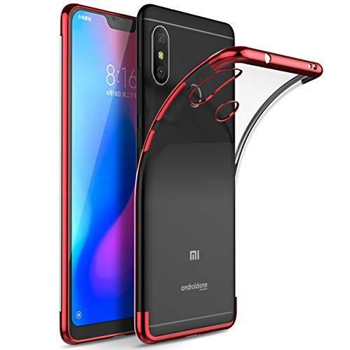 Kugi Tampa Xiaomi redmi 6 Pro, Xiaomi Mi A2 Lite.Xiaomi redmi 6 Pro, caso capa Xiaomi Mi A2 Lite Silicone caso TPU macio Transparente, slides Anti & Case anti-choque para Xiaomi redmi 6 Pro, Xiaomi Mi A2 Lite (vermelho)