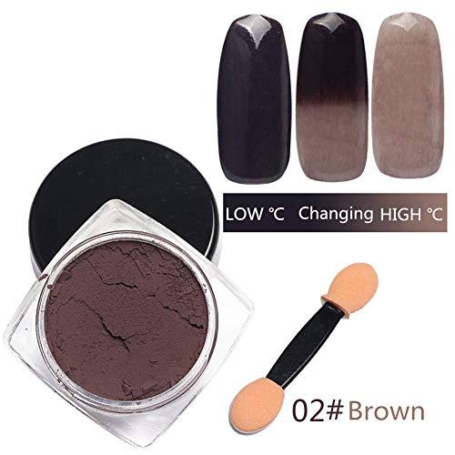 Magie Temperatur Farbe ändern Pulver Temperatur aktiviert Pigmentpulver Maniküre Pigment-Staub für Farbe, Harz, Nail Art (Kaffee) ()
