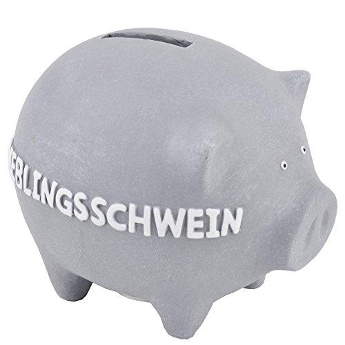 Produktbild Sparschwein mit Beschriftung Keramik grau Deko Dekofigur Geschenk (10x12x10cm)