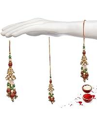 Prita's Set Of 2 Handmade Exquisite Golden Plated White, Red And Green Pearls Lumba Women Rakhi For Bhabhi + Free...