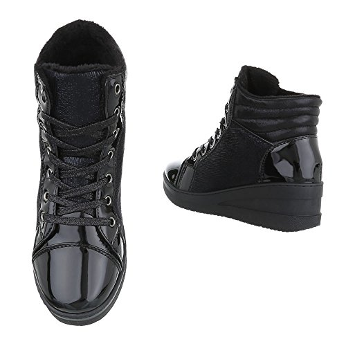 9a451c430053 ... High-Top Sneaker Damenschuhe High-Top Keilabsatz  Wedge Keilabsatz  Schnürsenkel Ital-Design