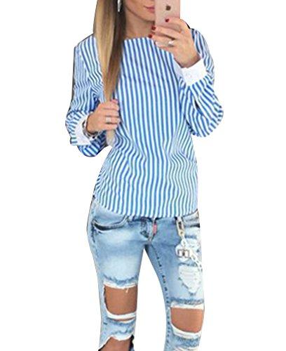 Femme Chic Chemisiers rayée à Manches Longues Blouse T-shirt dos nu Slim T-Shirt Tops Blouse Bleu