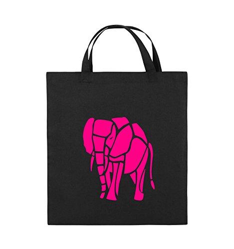Comedy Bags - ELEFANT - Jutebeutel - kurze Henkel - 38x42cm - Farbe: Schwarz / Weiss Schwarz / Pink
