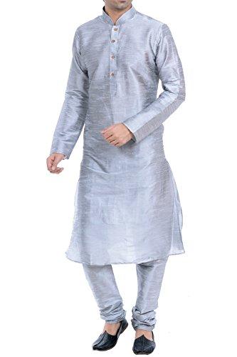 Vastramay Men's Grey Cotton Silk Kurta & Pyjama Set ( Size: 40)