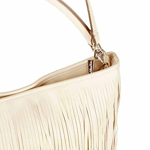 2495d08ef3732 ... ital-design Damen Tasche Fransen Shopper Hobo-Bags Umhängetasche  Schultertasche Handtasche Henkeltasche Schwarz Cream ...