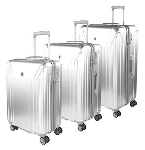 Traveller New York Hartschalen Kofferset, 4 Rollen 3er Reisekoffer Set für Damen / Herren mit TSA Schloss – (S, M & L), Silber