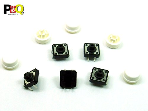 25-polig Switch Box (POPESQ® - 5 Stk. x Taster (12mm x 12mm) mit Kappe 7.3mm 4 polig THT Weiß Rund / 5 pcs. x Momentary switch (12mm x 12mm) with Cap 7.3mm 4 way THT White Round #A2107)