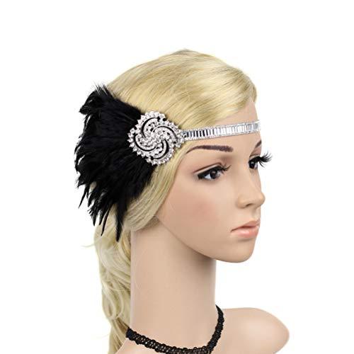 FENICAL Gatsby Stirnband Flapper Feder Kopfbedeckung Kopfschmuck 1920er Jahre Kopfschmuck für Frauen Mädchen ()