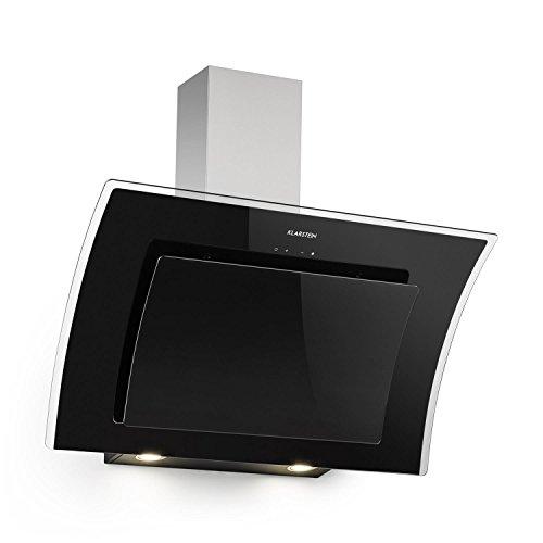 Klarstein Sabia 90 - Hotte aspirante, 90 cm, Verre de sécurité, Recyclage d'air, 3 niveaux de puissance, 600m³/h, Rétroéclairage LED, Support mural, Noir