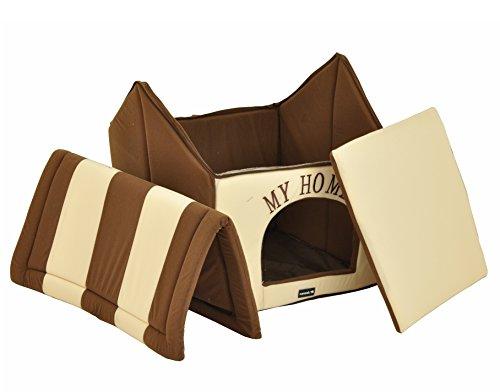 nanook Hundehaus Hundehöhle ADRIAN, Größe L mit Kissen, weicher Stoff Bezug, waschbar, warm, braun beige - 5