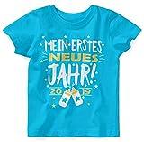 Mikalino Baby/Kinder T-Shirt Mein erstes Jahr! 2019 100% handbedruckt in Deutschland - bei 60 Grad waschbar mit Spruch, Farbe:Atoll, Grösse:68/74