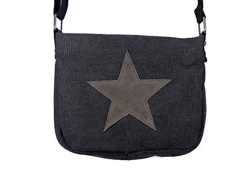 Moderne Canvas Style Umhängetasche - aufgenähter grauer Stern - Vernietung an der Seite -- Maße 27 x 21 x 5 cm /ohne Schulterriemen) - Damen Mädchen Teenager Tasche Schwarz