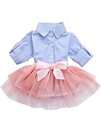 BeautyTop Vestito da Bambina Abiti Neonata Bambina Manica Lunga Vestiti da principessa Bow Tops +Tutu Abito Dress Abbigliamento
