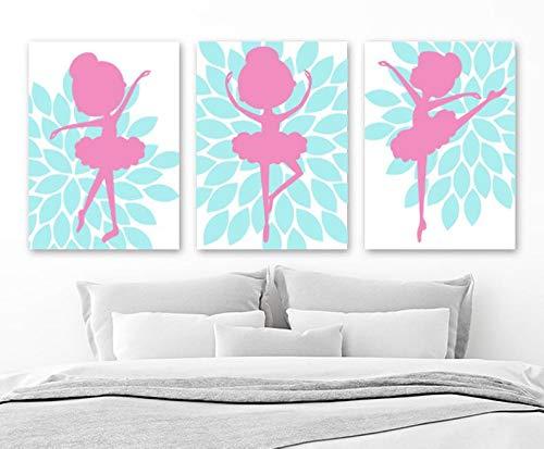 tian huan88 Ballerina Wall Art, Flower Ballerina Canvas or Print, Aqua Pink Baby Girl Nursery Decor, Girl Ballerina Bedroom Wall Decor, Set of 3 Artwork - Aqua Flower Girl