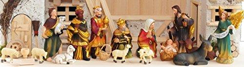12 tlg. schöne ÖLBAUM Krippenfiguren K603-KLEINE FIGUREN 12 -tlg. SET, KLASSIK-ÖLBAUM,Figuren bis max. 8-9 cm hoch, große Ausführung und feine Mimik, Komplettset mit Schäfer, Hirte mit Schaf / Schafe und Ziegen, Ochs und Esel, NEU - handbemalt - für große Holz Weihnachtskrippe + Zubehör, Design XXL Maria Josef Jesus Weihnachtsgeschichte