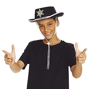 AEC-chapeau de Sheriff disfraz, unisex infantil, aq04601, Negro, talla única