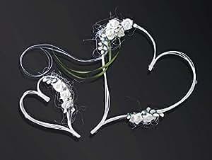 Lot de 2 décorations de mariage pour voiture en rotin en forme de cœur avec roses