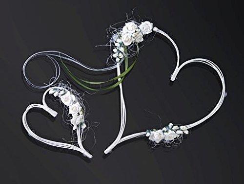 Autoschmuck zur Hochzeit : Rattanherzen creme mit Rosen, Autoschmuck für die Motorhaube 2-er Set