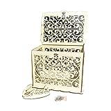 fervortop Boîte À Cartes De Mariage en Bois Creuse avec Verrou Et Panneau De Carte pour Les Jeunes Mariés - Urne pour Les Offres De Collection, Cadeaux De Mariage