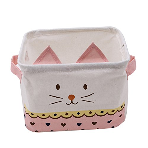 EJY Kätzchen Ohren Niedlich Wasserdicht und feuchtigkeitsdicht Organisieren Körbe für Desktop, Spielzeug-Speicher, Kosmetik Tasche Aufbewahrungsbox Stoff Ablagebox (Rosa) -