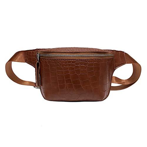VJGOAL Damen Bauchtasche, Frauen Herren Unisex Hohe Qualität Mode Wild Umhängetasche Brusttasche Einfach Quadratisches Paket(Braun,One size)