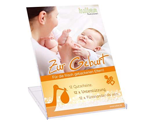 Zur Geburt » Das Geschenk zur Geburt für die Eltern. 12 Geschenkgutscheine mit 12 liebevollen Aufmerksamkeiten. 12 x Unterstützung schenken. 12 x füreinander da sein. Die Geschenkidee zur Geburt.