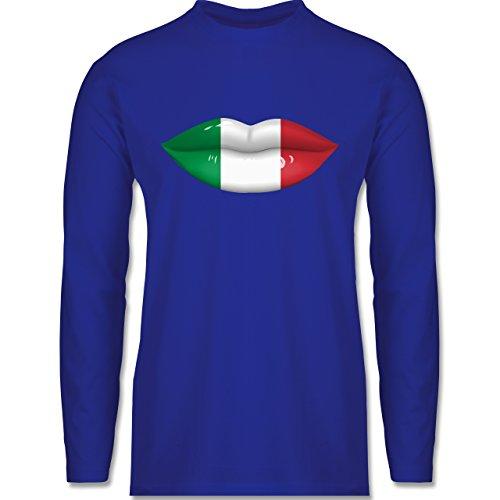 Shirtracer Länder - Lippen Bodypaint Italien - Herren Langarmshirt Royalblau