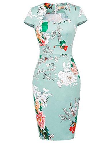 ahre Vintage Retro bleistiftkleid Blumen etuikleid festlich Kleid XL CL7597-18 ()
