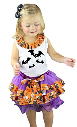 Ghost Tutu Kostüm White - Petitebelle Halloween Fledermäuse weiß Shirt Violett Orange Ghost Blütenblatt Rock Set nb-8y Gr. Medium, White, Orange, Black
