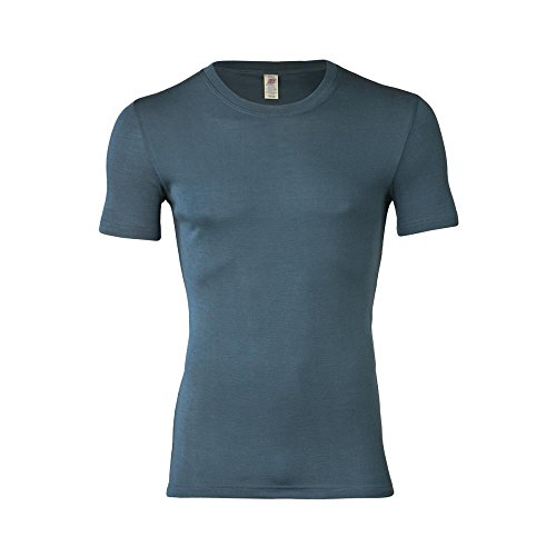 Engel Herren Unterhemd Kurzarm Bio-Wolle/Seide, Atlantik, 54/56 - Shirts Herren Seide Kurzarm