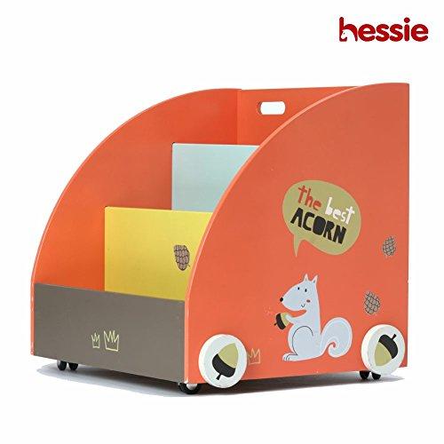 Hessie Pequeño niño pequeño empaqueta el estante / la estantería de madera portable en las ruedas, almacenaje del libro / estante, muebles de la biblioteca - Naranja Pino (Semillas Circular Forma)