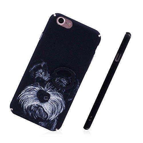 iProtect Hardcase mit Ring Blüten Schutzhülle in Transparent Schwarz mit Fingerhalterung für Apple iPhone 7, iPhone 8 Puppy Schwarz