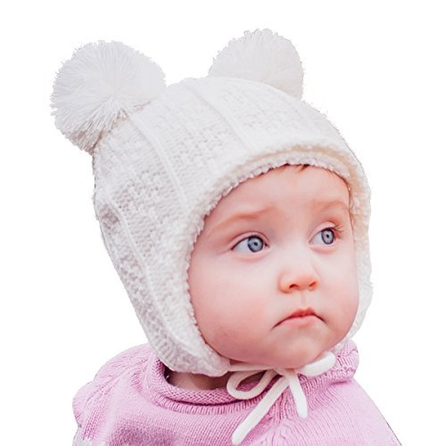 644587415 Warm Cute Baby Toddler Girl Fall Winter Earflap Beanie Hat (M: 6-24 Months